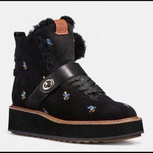 Coach Urban Hiker in Parie Blue Floral Suede Boots